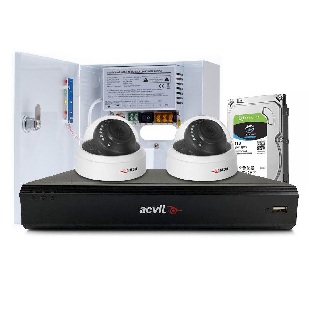 Sistem supraveghere interior middle Acvil Pro ACV-M2INT20-5MP, 2 camere, 5 MP, IR 20 m, 2.8 mm, PoS, audio prin coaxial imagine spy-shop.ro 2021