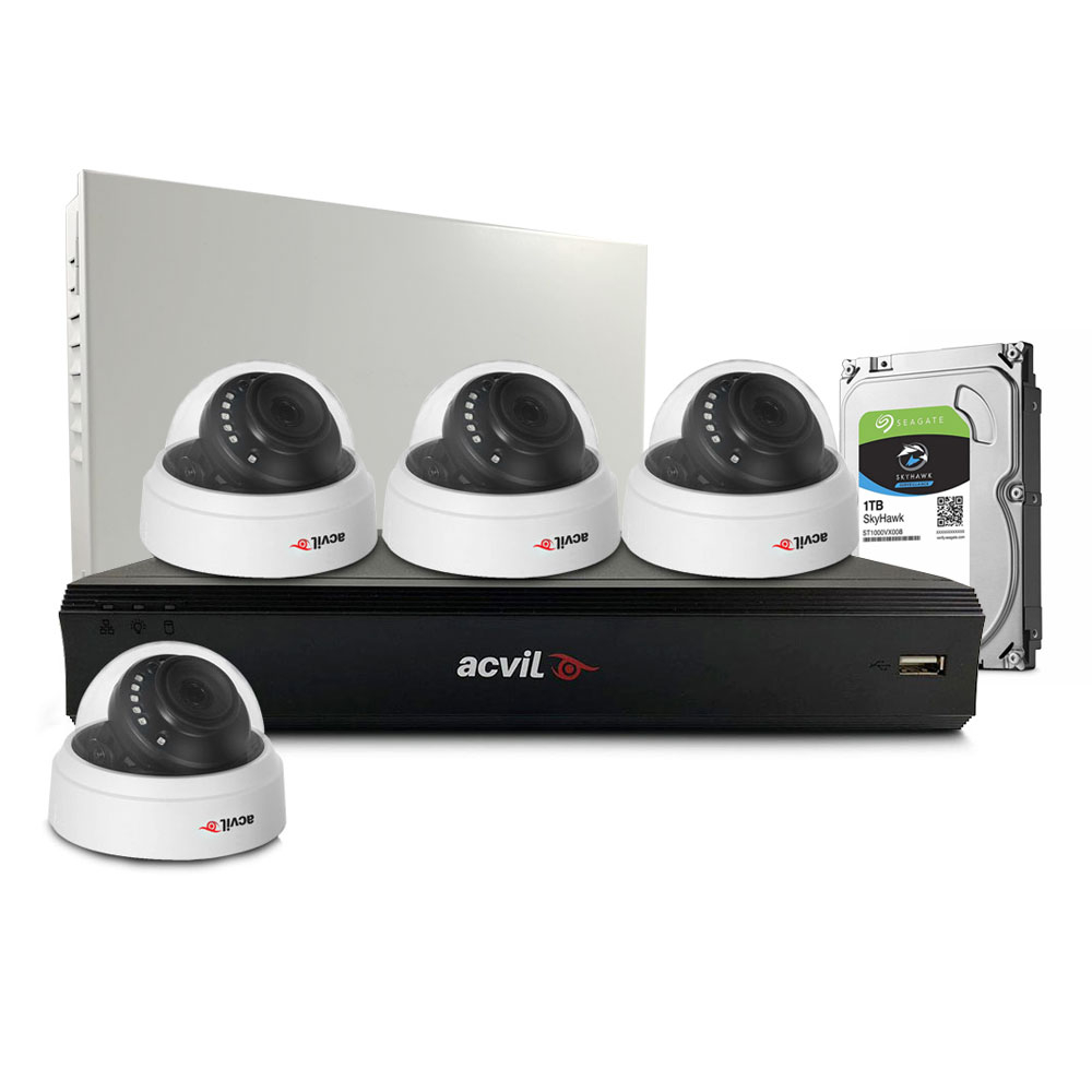 Sistem supraveghere interior middle Acvil Pro ACV-M4INT20-2MP, 4 camere, 2 MP, IR 20 m, 3.6 mm, POS, audio prin coaxial imagine spy-shop.ro 2021