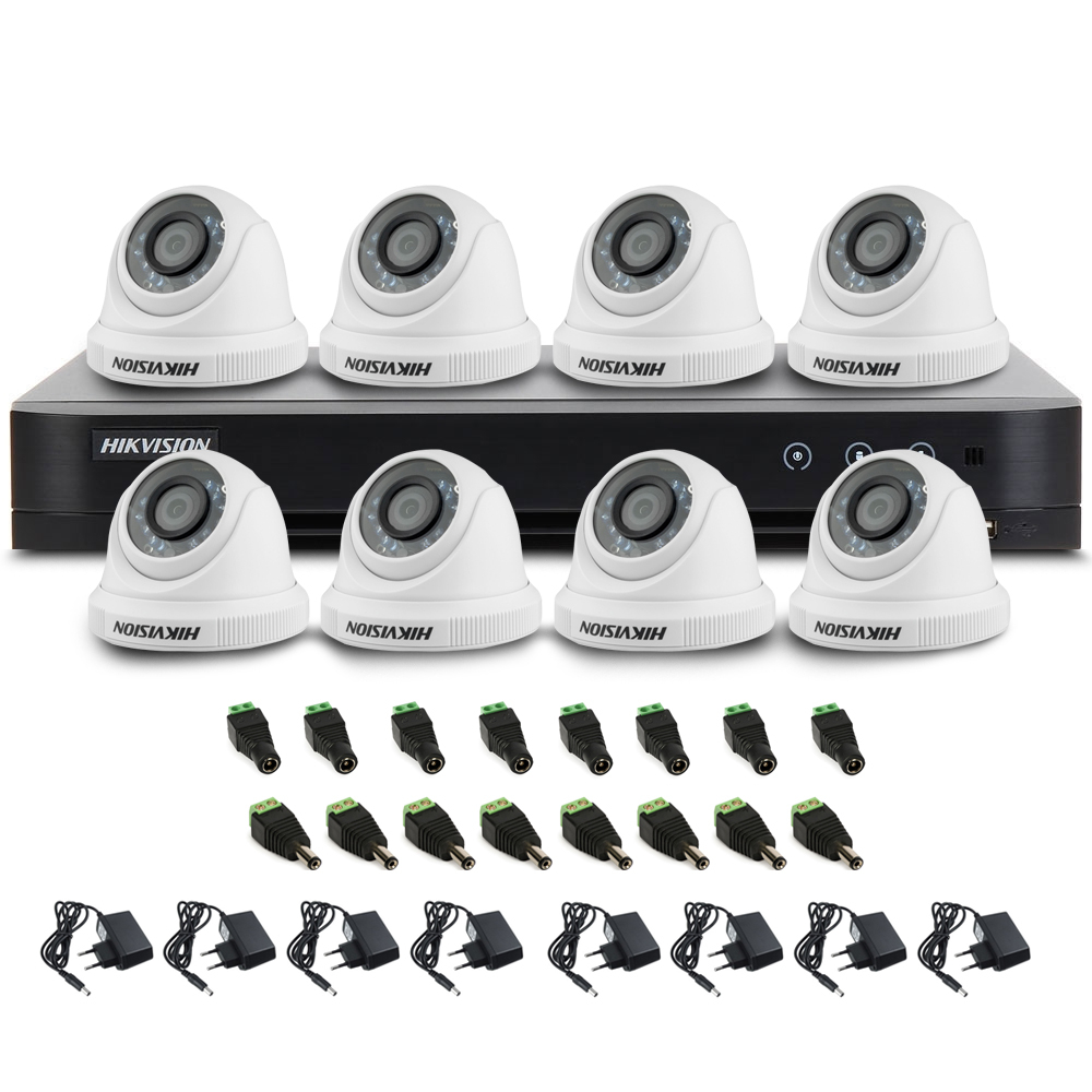 Sistem supraveghere interior Hikvision TVI-8INT20-1080P, 8 camere, 2 MP, IR 20 m imagine spy-shop.ro 2021