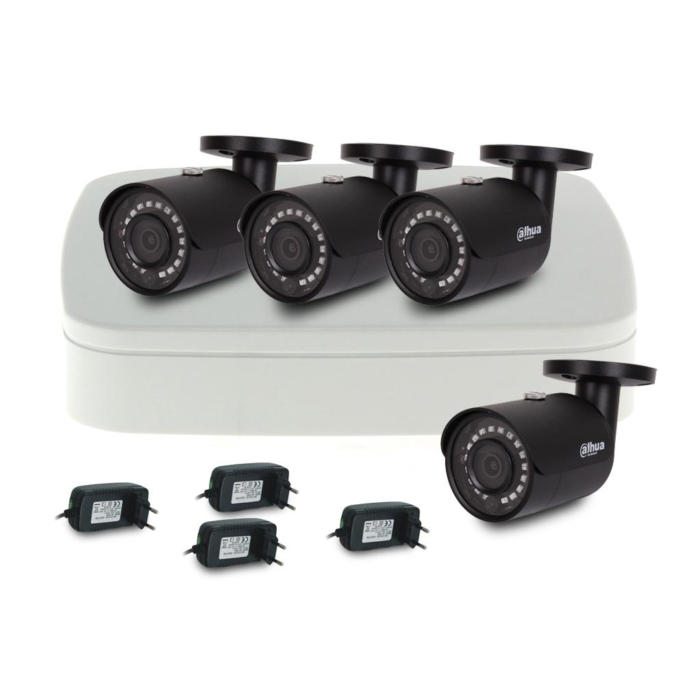 Sistem supraveghere IP exterior basic Dahua DH-IP-B4EXT30-2MP-V2, 4 camere, 2 MP, IR 30 m imagine spy-shop.ro 2021