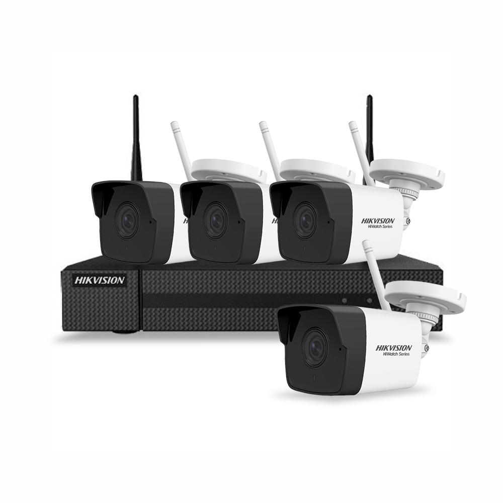 Sistem supraveghere IP exterior Hikvision Hiwatch HWK-N4142B-MH/W, 4 camere, 2 MP, IR 30 m, 2.8 mm, microfon imagine spy-shop.ro 2021