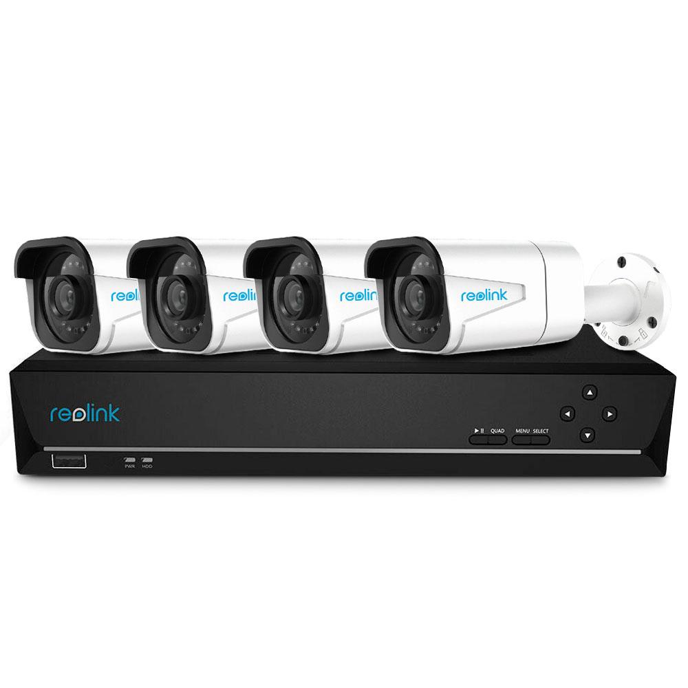 Sistem supraveghere IP exterior Reolink RLK8-800B4, 4 camere, 4K, IR 30 m, 4 mm, microfon, HDD 2TB imagine spy-shop.ro 2021