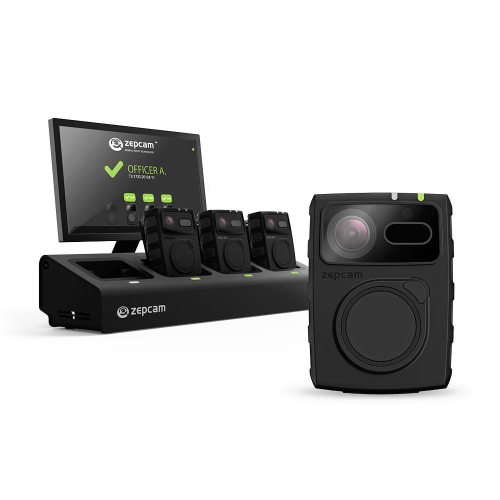 Starter Kit Body Camera Zepcam T2-SK, 4 camere, statie incarcare cu 4 iesiri, licenta cloud 1 an, Full HD, IR 10 m, 64 GB, microfon imagine