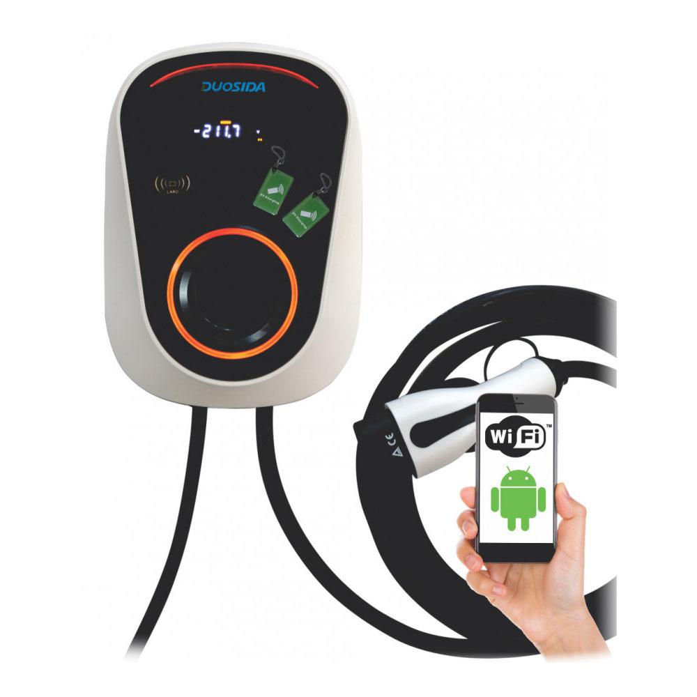 Statie fixa cu ecran pentru incarcare masini electrice EV-MAG GSD-32/1-WC, WiFi, RFID, 7 kW, type 2, monofazat, control de pe telefon imagine spy-shop.ro 2021