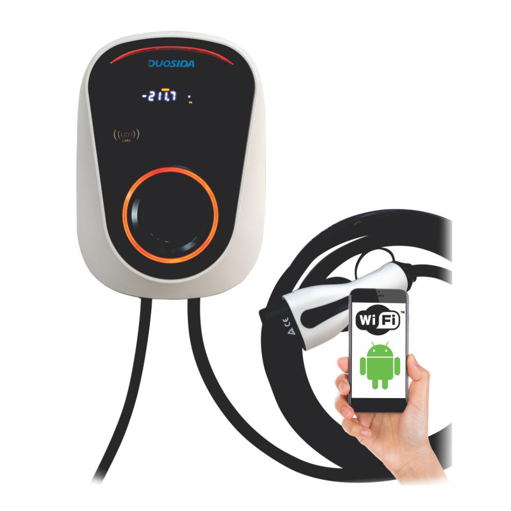 Statie fixa cu ecran pentru incarcare masini electrice WiFi EV-MAG Duosida GSD-32/1-W, 7 kW, type 2, monofazat, control de pe telefon imagine spy-shop.ro 2021