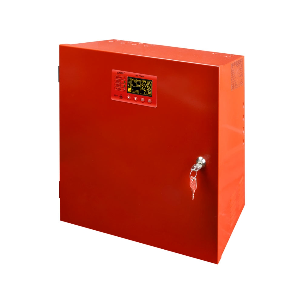 Sursa de alimentare 27.6 V/5 A Pulsar EN54-5A40LCD, 230 VAC/50 Hz, montaj aparent, LCD