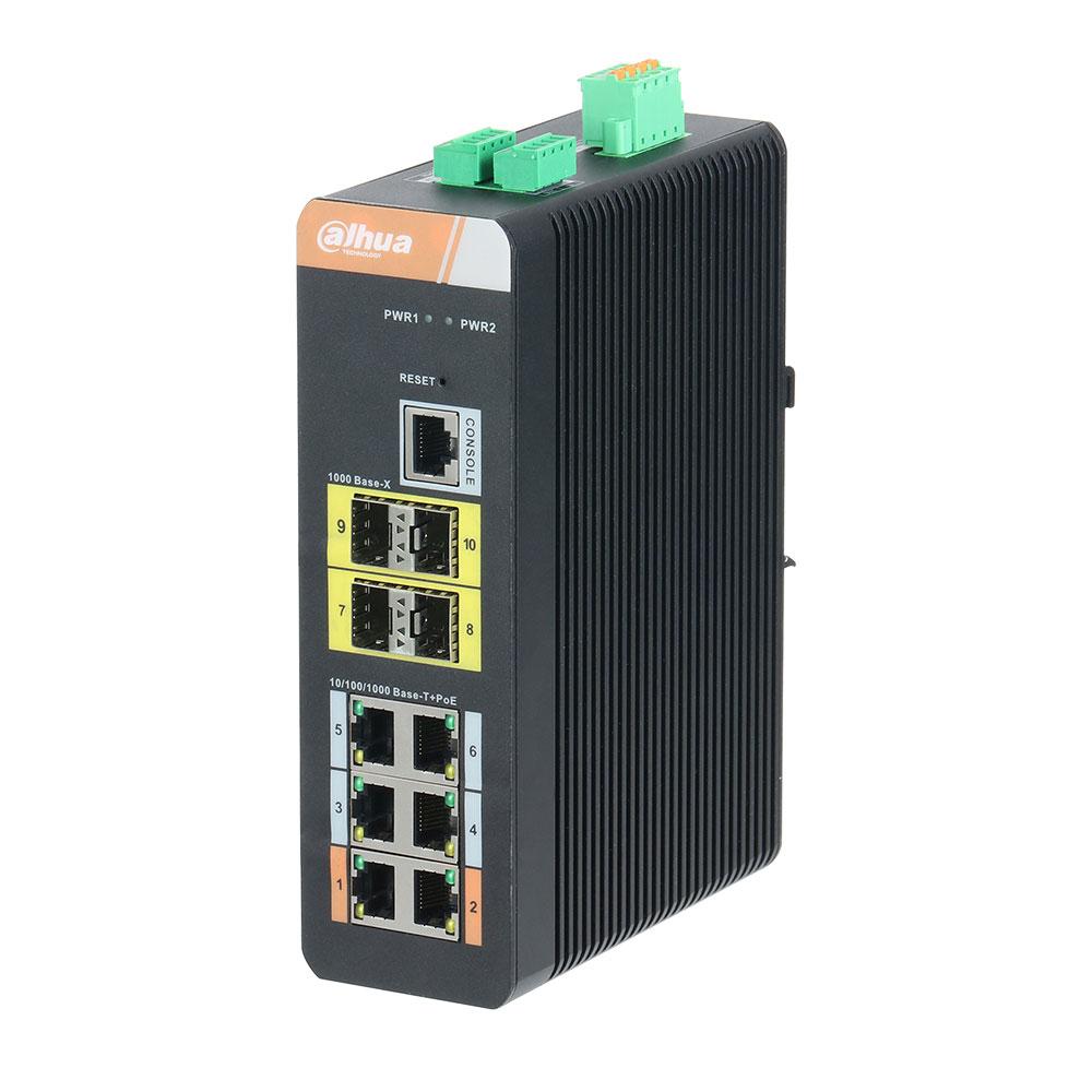 Switch cu 6 porturi PoE Dahua PFS4410-6GT-DP, 8000 MAC, 28 Gbps, cu management imagine spy-shop.ro 2021