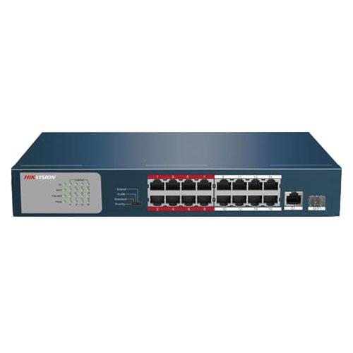 Switch cu 16 porturi PoE Hikvision DS-3E0318P-E/M, 4000 MAC, 100 Mbps, fara management