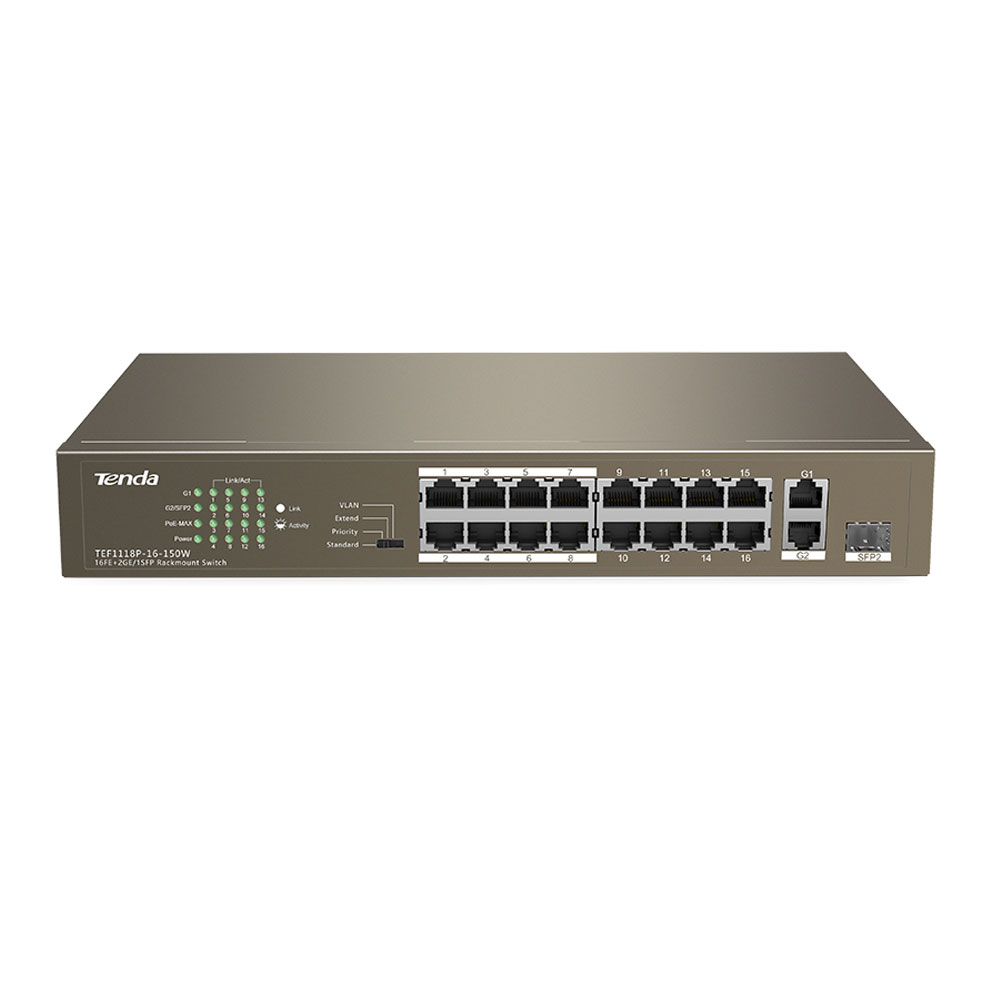 Switch cu 16 porturi Tenda F1118P-16-150W, 1 port SFP, 7.2 Gbps, 5.36 Mpps, 4.000 MAC, PoE, fara management