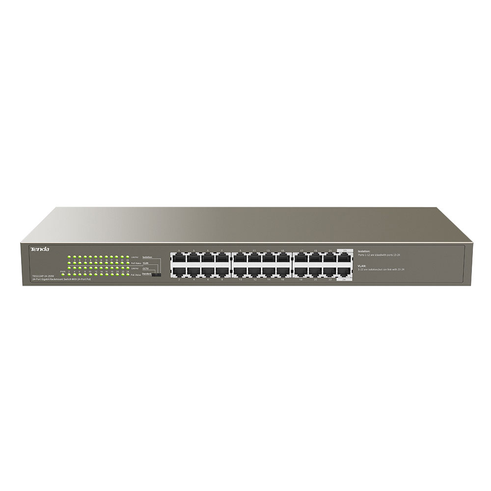 Switch cu 24 porturi Tenda TEG1124P-24-250W, 48 Gbps, 35.7 Mpps, 8000 MAC, PoE, fara management