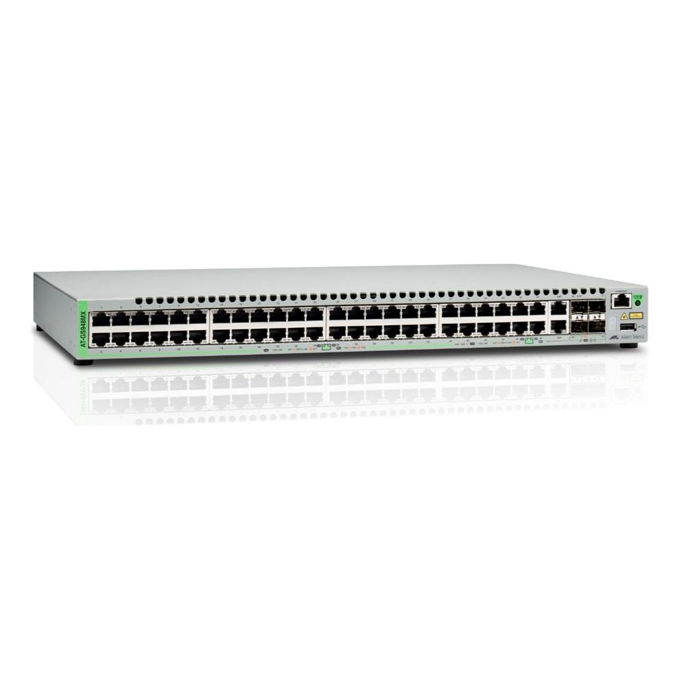 Switch cu 48 porturi Allied Telesis AT-GS948MX-50, 140 Gbps, 104.16 Mpps, 16.000 MAC, 2 porturi SFP/Copper, 2 sloturi SFP/SFP+, cu management