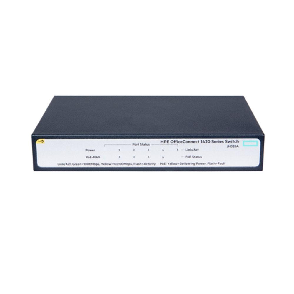 Switch cu 5 porturi Aruba JH328A, 10 Gbps, 7.4 Mpps, 2000 MAC, 1U, PoE+, fara management