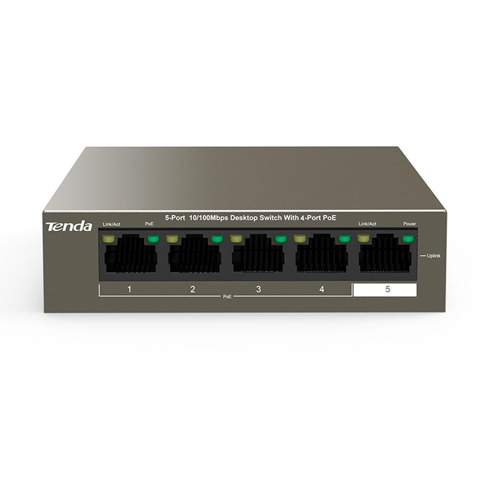 Switch cu 5 porturi Tenda TEF1105P-4-63W, 1 Gbps, 0.74 Mpps, 1000 MAC, PoE, fara management