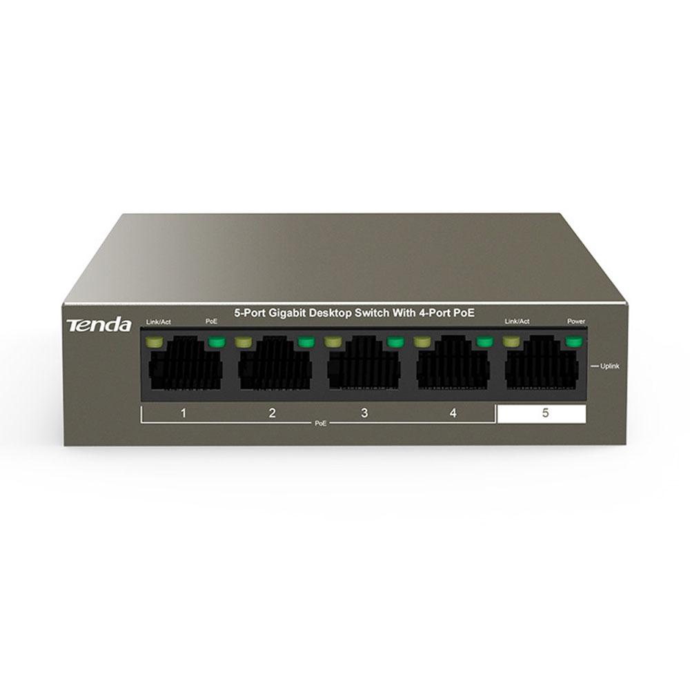 Switch cu 5 porturi Tenda TEG1105P-4-63W, 10 Gbps, 7.44 Mpps, 2000 MAC, PoE, fara management