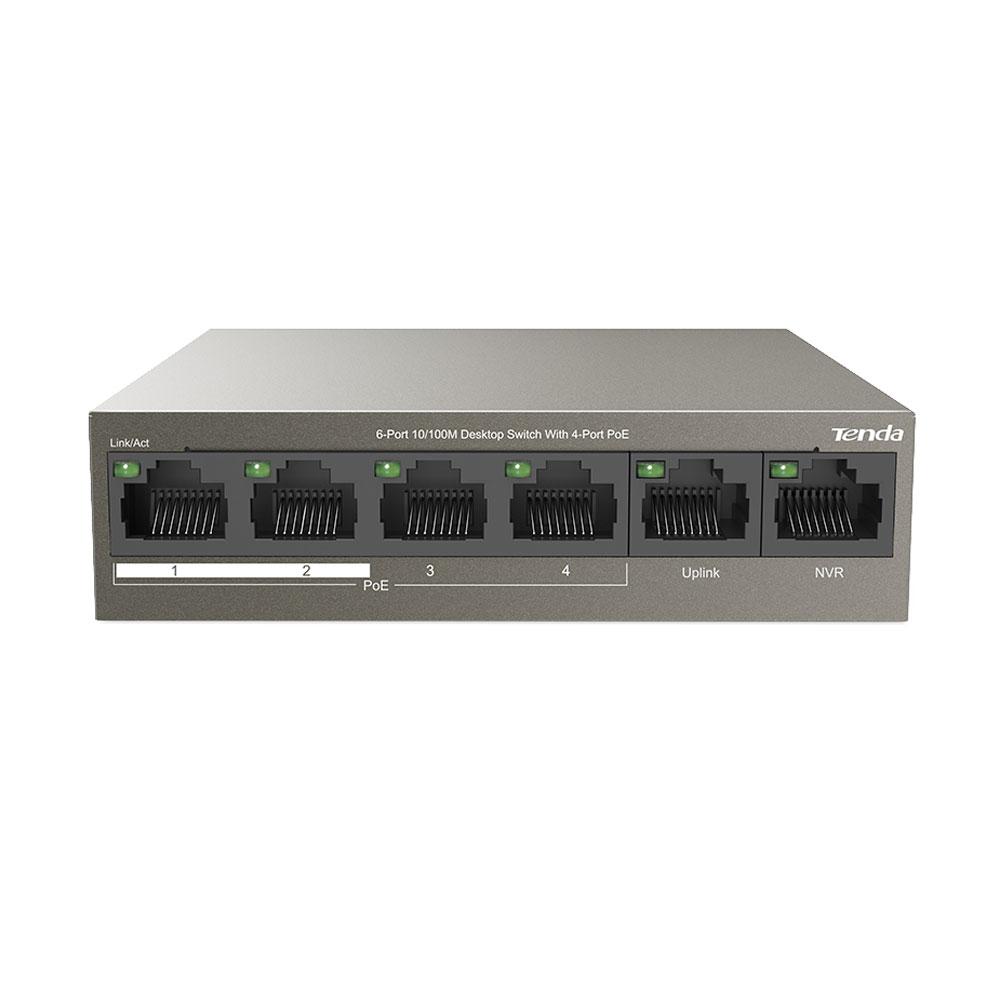 Switch cu 6 porturi Tenda TEF1106P-4-63W, 1.2 Gbps, 0.89 Mpps, 1000 MAC, PoE, fara management