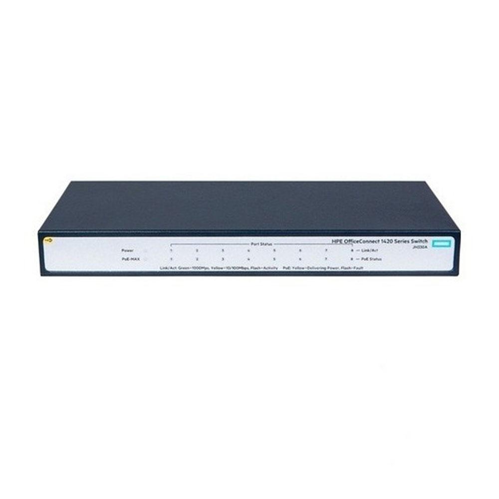 Switch cu 8 porturi Aruba JH330A, 16 Gbps, 11.8 Mpps, 4096 MAC, 1U, PoE+, fara management