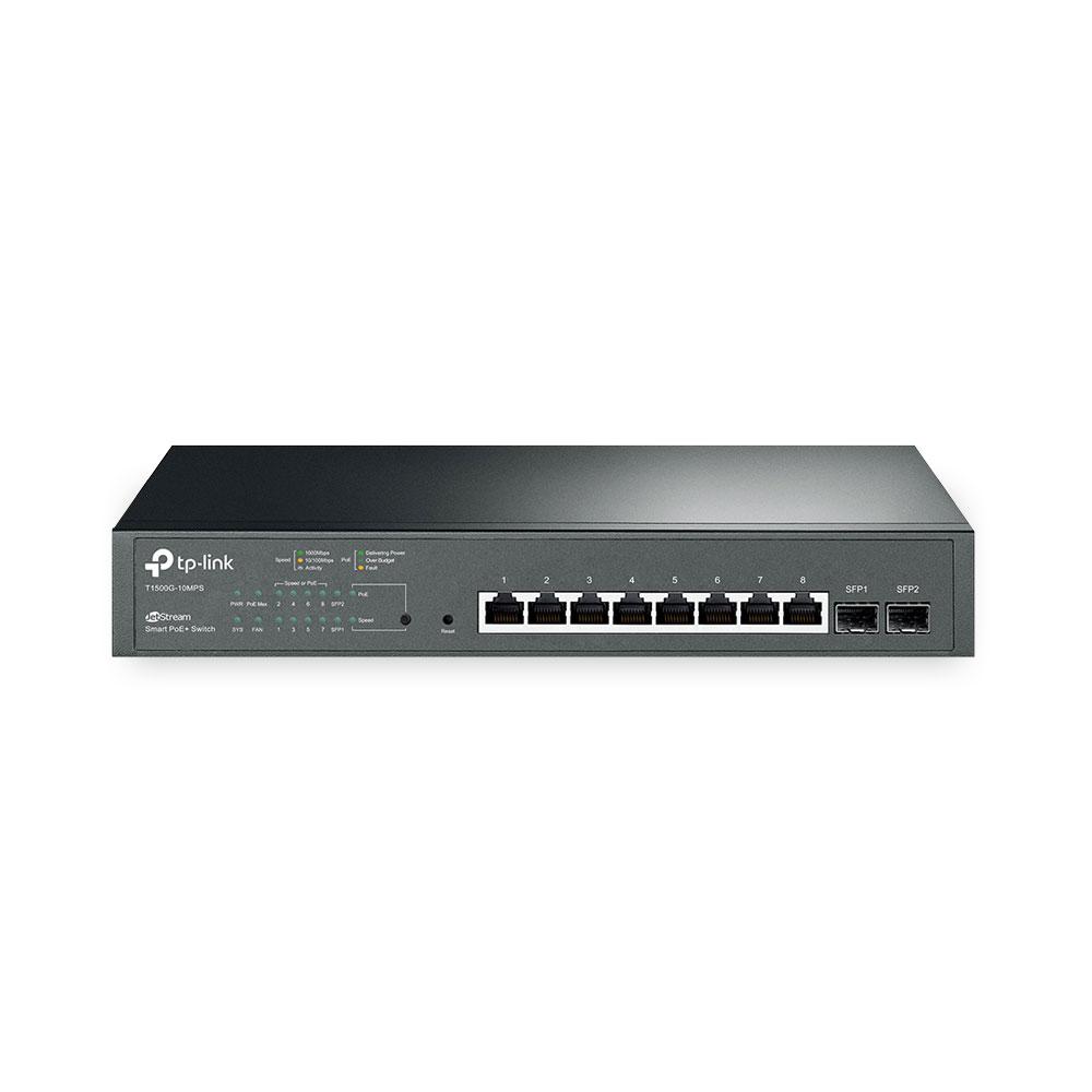 Switch cu 8 porturi TP-Link T1500G-10MPS, 8 PoE+, 8000 MAC, 20 Gbps imagine spy-shop.ro 2021