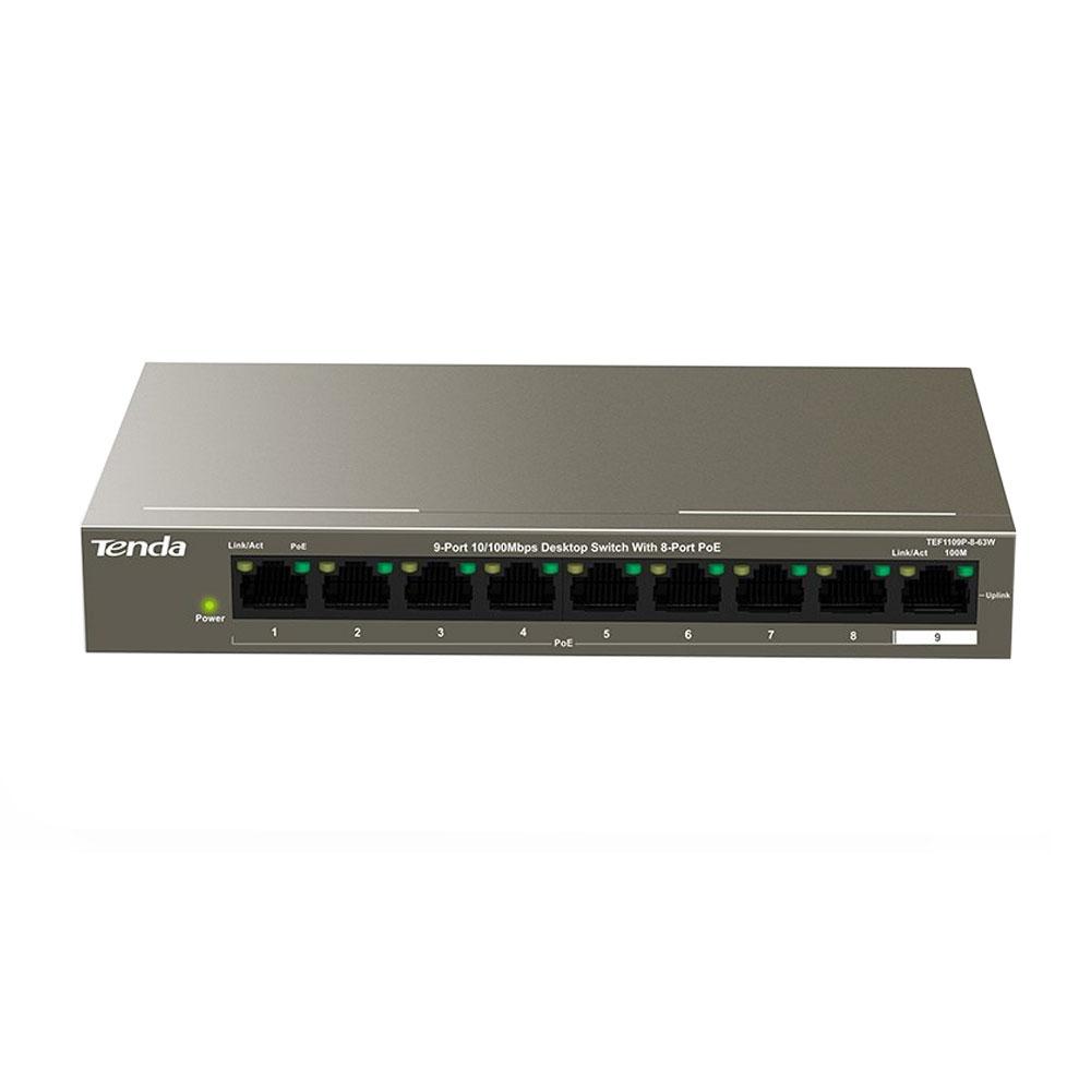 Switch cu 9 porturi Tenda TEF1109P-8-63W, 1.8 Gbps, 1.34 Mpps, 4000 MAC, PoE, fara management