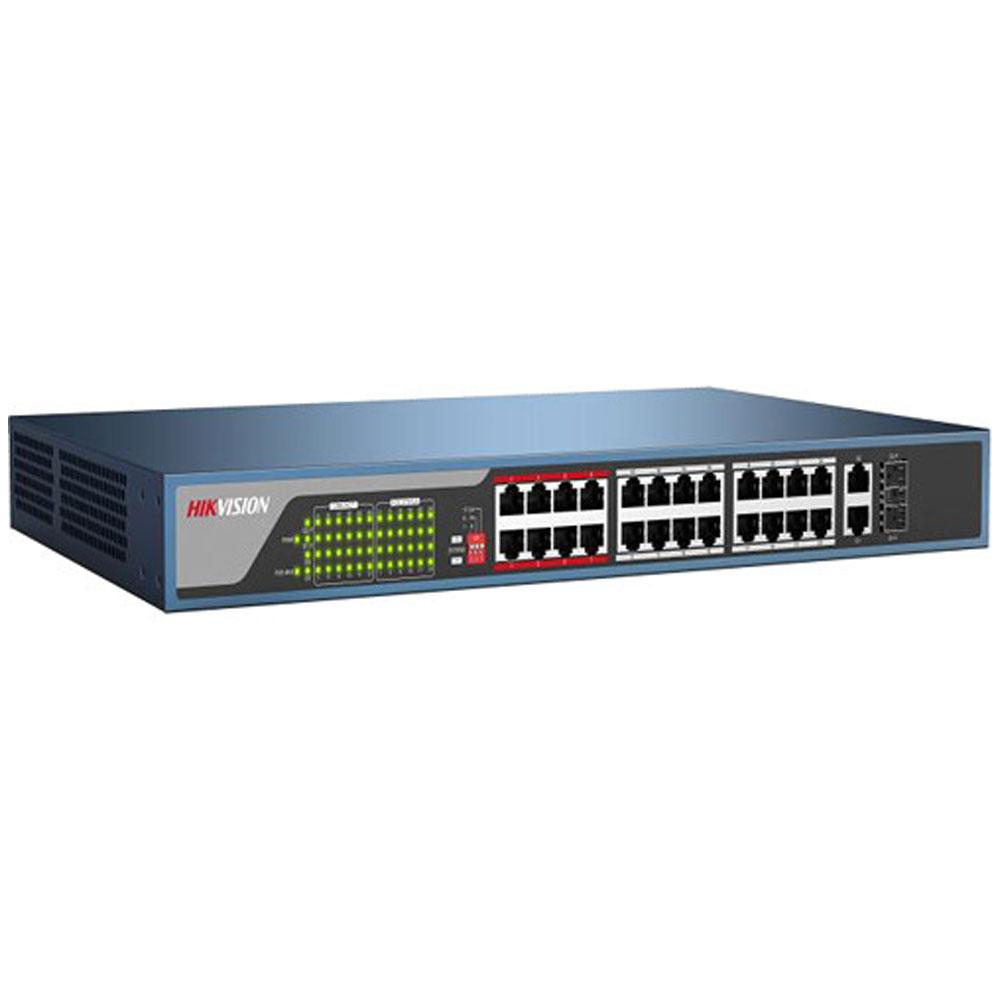 Switch PoE cu 26 de porturi Hikvision DS-3E0326P-E EXTENDED PoE Switch, cu management, 4000 MAC imagine spy-shop.ro 2021