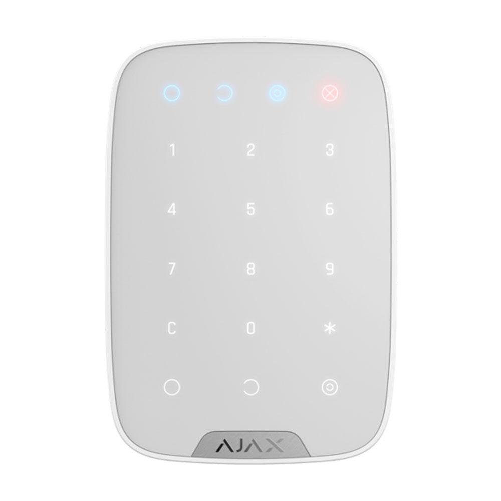 Tastatura cu touch wireless AJAX Keypad WH/BL, 15 taste, silent alarm, 1700 m