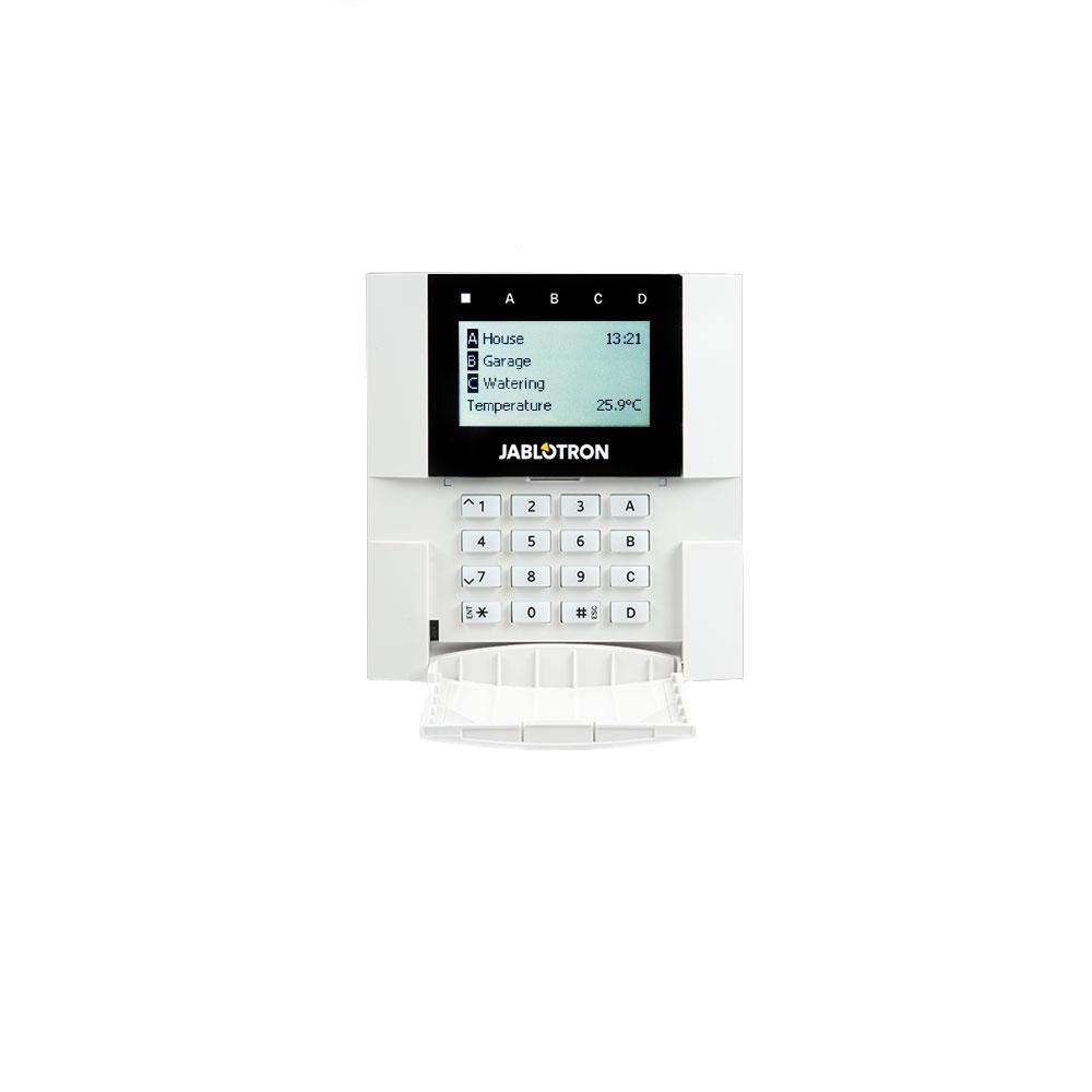 Tastatura LCD adresabila JABLOTRON 100+ JA-110E, comunicare/alimentare pe bus, cititor RFID, 4 butoane functionale imagine spy-shop.ro 2021