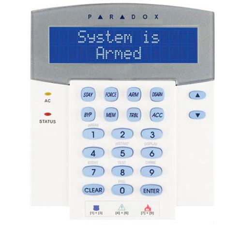 Tastatura LCD Paradox K641R, 8 partitii, cititor card incorporat, orar programabil
