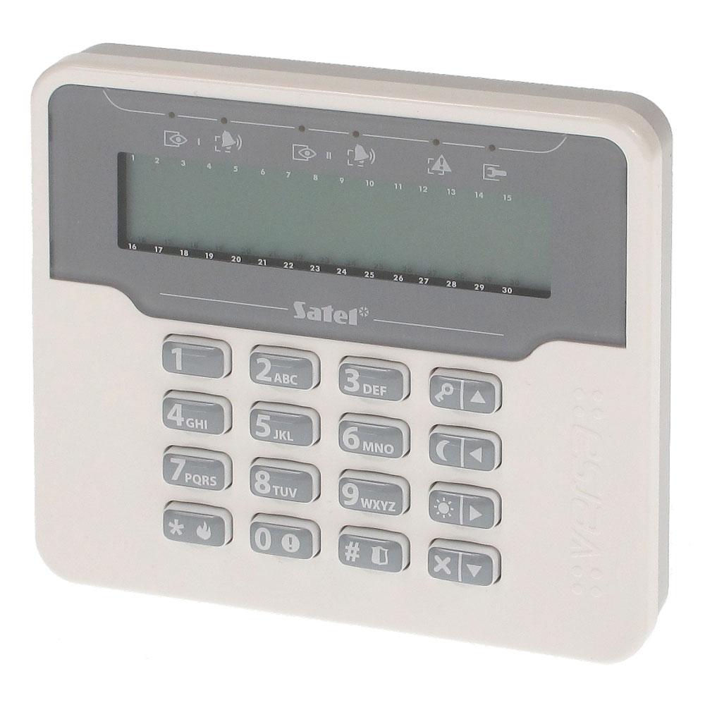 Tastatura LCD Satel VERSA-LCDM-WH, 3 butoane functionale, taste dedicate, buzzer