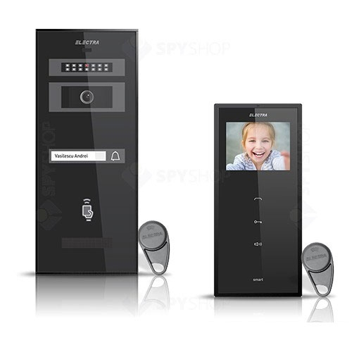 Set videointerfon Electra Smart VID-ELEC-19, 1 familie, aparent, ecran 3.5 inch