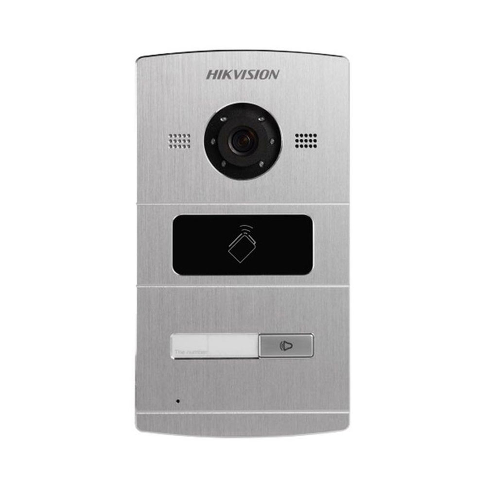 Videointerfon de exterior IP Hikvision DS-KV8102-IM, 1.3 MP, IC card, 1 familie, ingropat imagine spy-shop.ro 2021