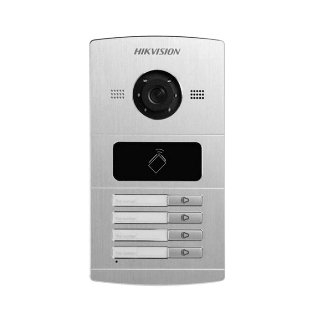 Videointerfon de exterior HIKVISION DS-KV8402-IM, 4 familii, 1.3 MP, ingropat imagine spy-shop.ro 2021